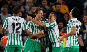 Real Betis's players celebrate at Camp Nou in November, en route to Barcelona's most recent home defeat.