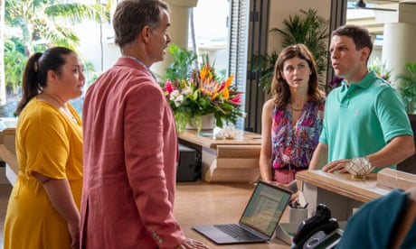 Jolene Purdy, Murray Bartlett, Alexandra Daddario and Jake Lacy in The White Lotus. No one is spared the corrosive effects of moneyed exploitation, even as it masquerades as paradise.
