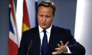 David Cameron at a joint news conference with Spanish prime minister Mariano Rajoy in Madrid