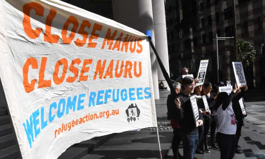 Human rights groups protest offshore detention