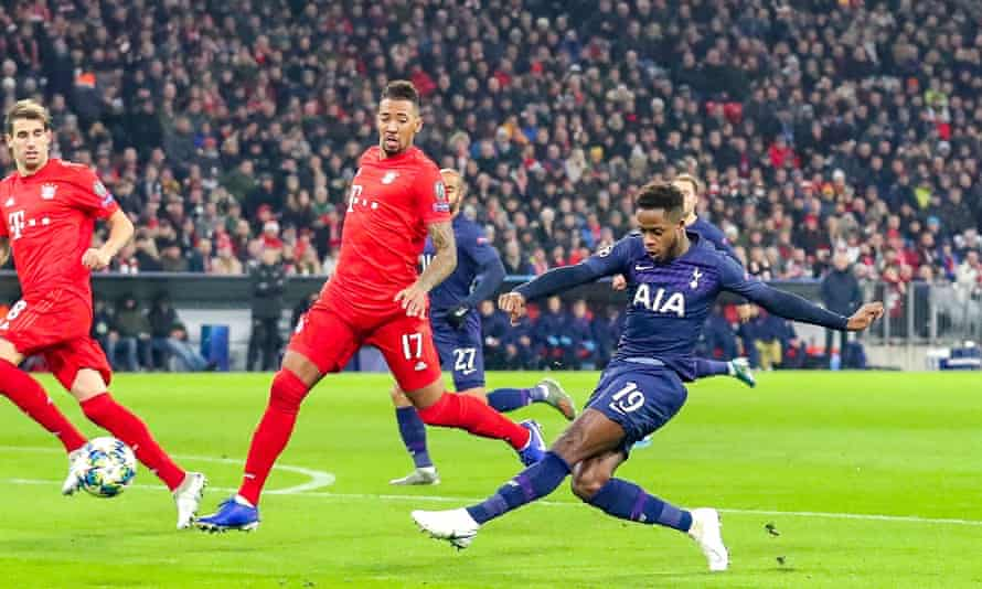 Ryan Sessegnon scores Tottenham's equaliser after Kingsley Coman had put the hosts in front.