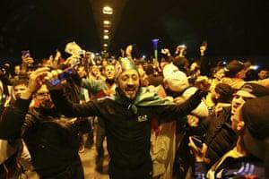 Algiers, Algeria People celebrate after President Abdelaziz Bouteflika announces his resignation