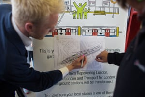 Consultation on Hackney Downs Station. Representatives from TFL, Groundwork and Repowering London advertise the planned gardens and ask commuters for their suggestions on what to grow.