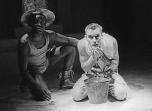 Ariyon Bakare and Jude Law in Ion by Euripides at the Barbican, designed by Fotini Dimou, 1994.