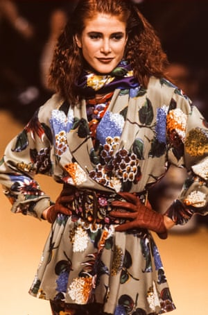 Model and actor Angie Everhart does 'cottage-core' on the Kenzo autumn/winter 91 catwalk in Paris