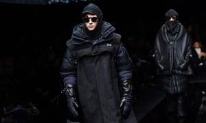 Models in heavy black coats