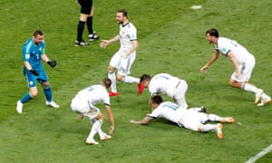 Russia players celebrate winning the penalty shoot-out.