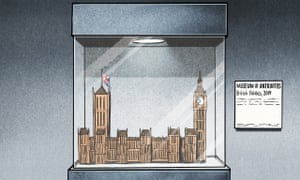 Houses of Parliament in glass case next to Museum of Antiquities sign