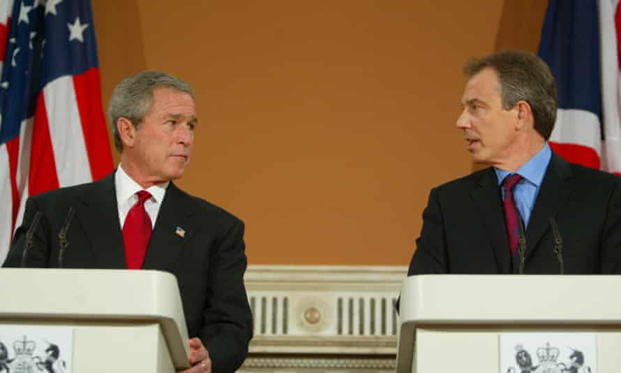 George W Bush and Tony Blair at the Foreign Office press conference, November 2003.