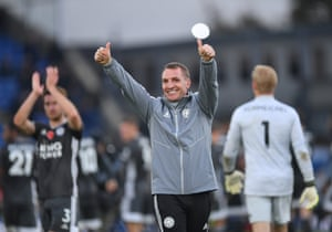 Brendan Rogers celebrates at the final whistle as Leicester win 2-0 at Selhurst Park.