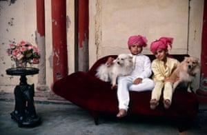 The brothers Viraj and Siddhar Mohan celebrating their birthday, Lucknow, Uttar Pradesh, India