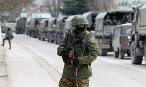 Russian troops in the Crimean town of Balaclava in March 2014. 'If Russia really harbours ambitions to reconstitute an empire, one of its few successes to date is the expensive (in every respect) reacquisition of Crimea.'