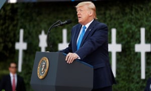Donald Trump delivers a speech during the commemoration ceremony for the 75th anniversary of D-Day