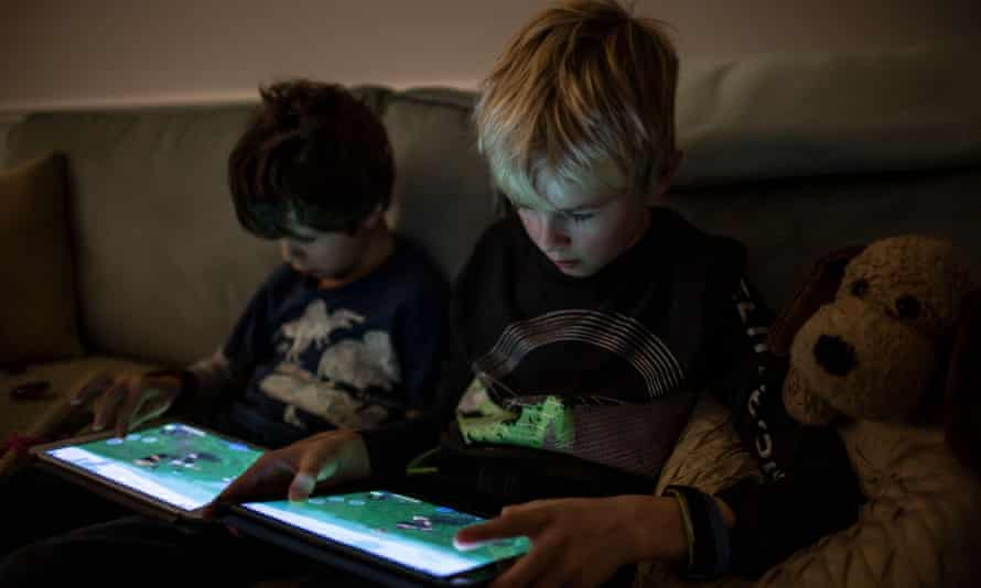 Boys playing 'Roblox'