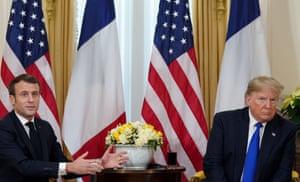 Donald Trump with France's president, Emmanuel Macron