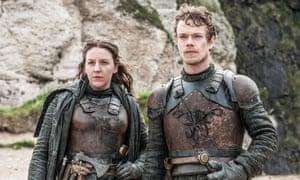 Gemma Whelan and Alfie Allen as Yara and Theon Greyjoy in Game of Thrones.