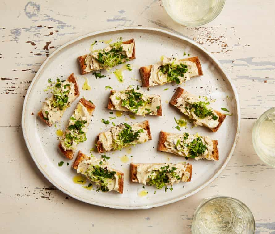Yotam Ottolenghi's anchovy, lime and chilli butter crostini