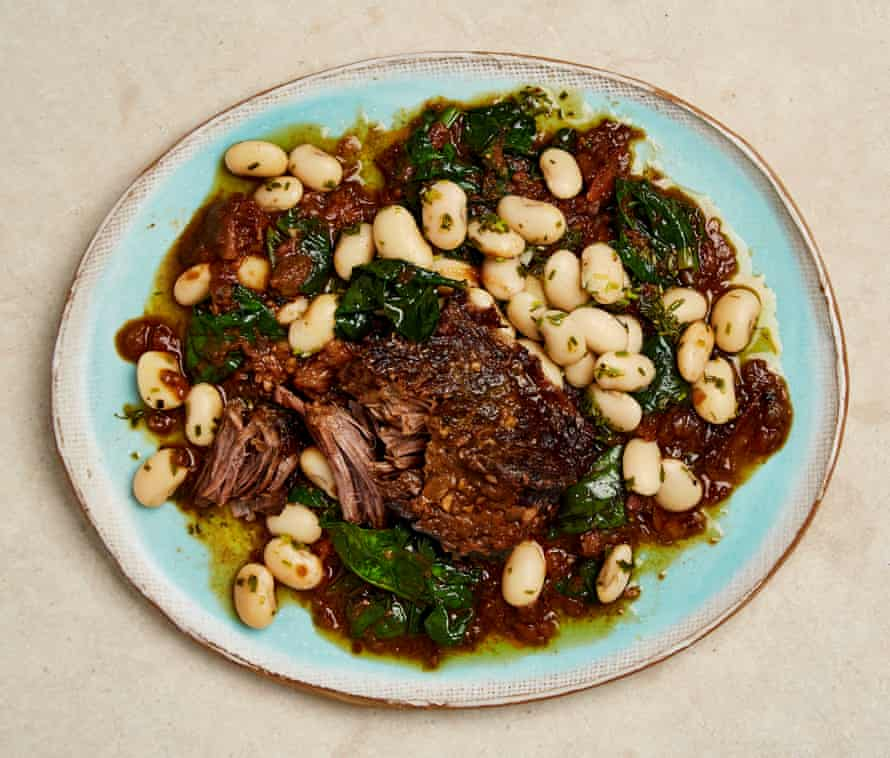 Yotam Ottolenghi's bBraised beef short ribs with butter beans and figs.