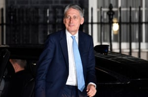Britain's Chancellor of the Exchequer Phillip Hammond arrives at No10 Downing Street in London, Britain, 16 January 2019.
