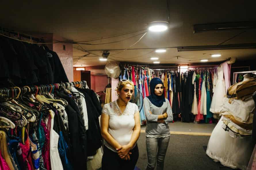 Suzanne Hammoud's wedding dress store in Akkar, in northern Lebanon, on 14 July.