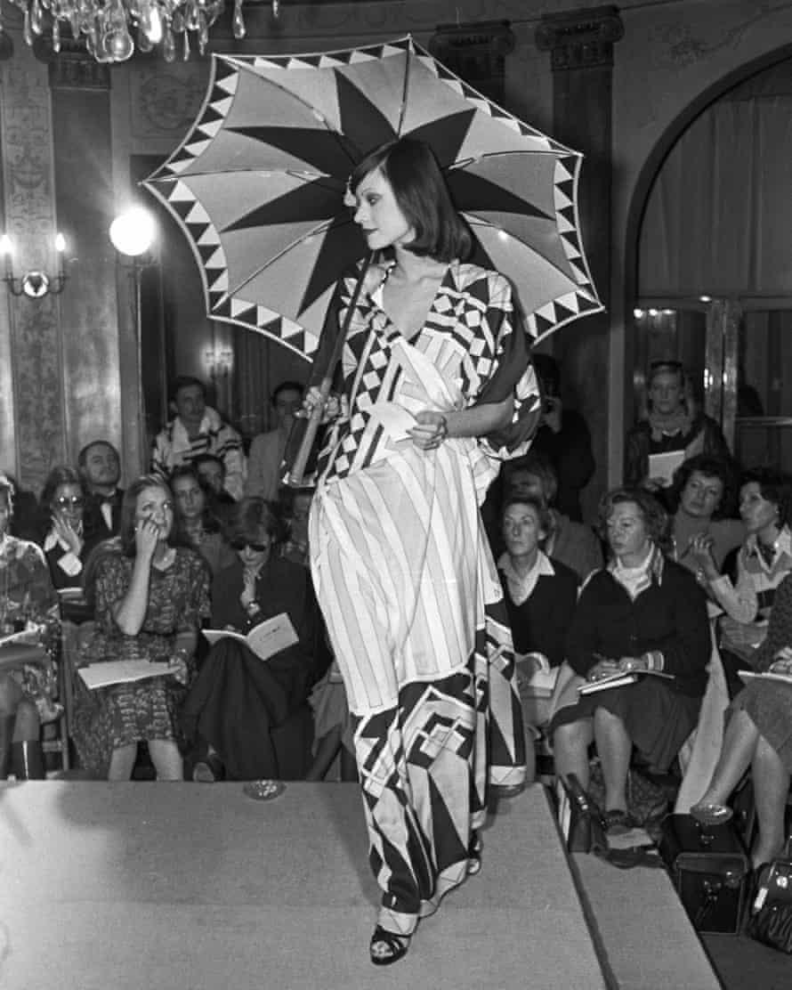 Boldly patterned dress/coverup and matching umbrella from Karl Lagerfeld's Spring 1974 collection for Chloé.