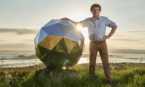 Rocket Lab founder and CEO Peter Beck is pictured with the Humanity Star in Auckland