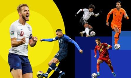 (Left to right): England's Harry Kane, France's Kylian Mbappé, Germany's Serge Gnabry, Belgium's Eden Hazard and Virgil van Dijk of the Netherlands.