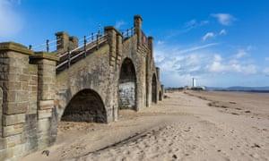 Remains of the Slip Bridge on Swansea sea front.