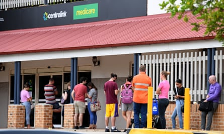 A queue of people outside a centrelink office