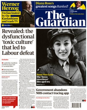 Guardian front page, Friday 19 June 2020
