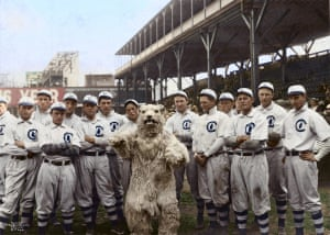 The Chicago Cubs with their mascot in Chicago, Illinois, 1908.