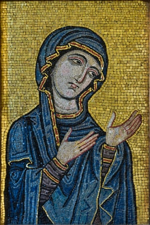 12th-century mosaic Byzantine-style mosaic showing the Virgin as Advocate for the Human Race, originally from Palermo cathedral, c1130-1180AD.