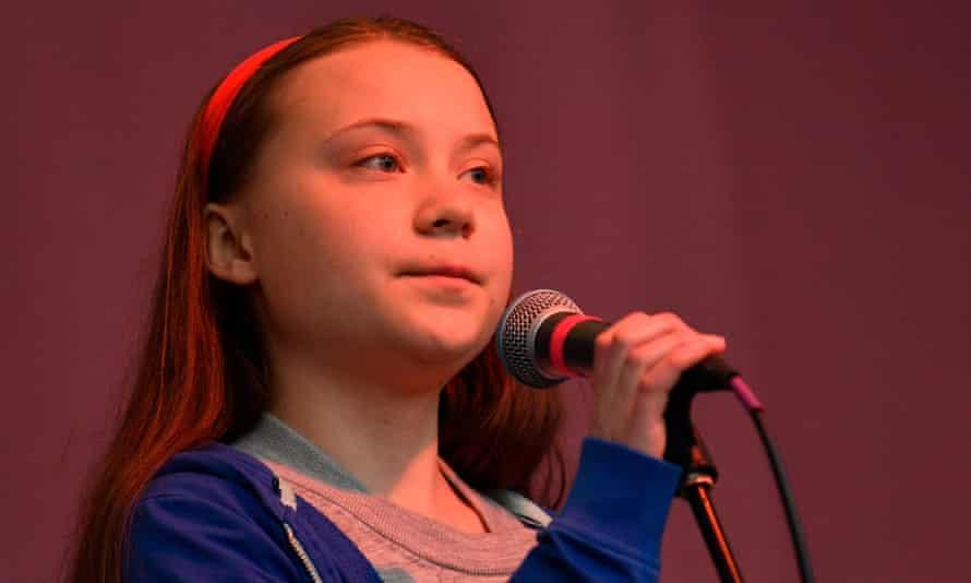 Swedish schoolgirl climate activist Greta Thunberg speaks to the Extinction Rebellion protestors.