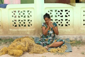 Jeyarasa Mary Jackulin, in Mannar district, produces fishing ropes from discarded nets