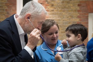 Labour leader Jeremy Corbyn pretends to use a stethoscope with 2-year-old Haroon, after he met NHS nurses, student nurses and midwives to discuss Labour's three point election guarantee for NHS staff at the headquarters of UNISON in north London. PRESS ASSOCIATION Photo. Picture date: Wednesday April 26, 2017. See PA story ELECTION Main. Photo credit should read: Stefan Rousseau/PA Wire