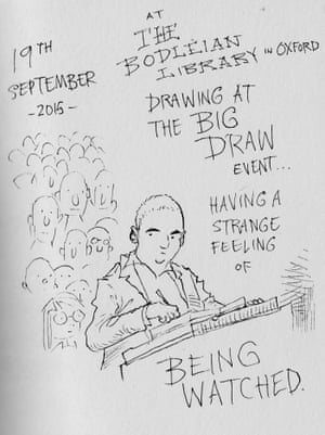 Chris Riddell being watched