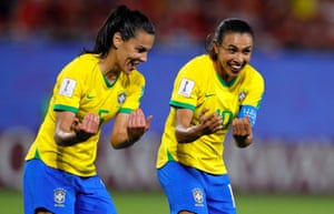 Marta and Thaisa enjoy the moment as Brazil beat Italy at the Women's World Cup.