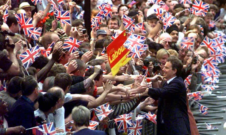 Tony Blair greets the crowds after Labour's landslide win in 1997.
