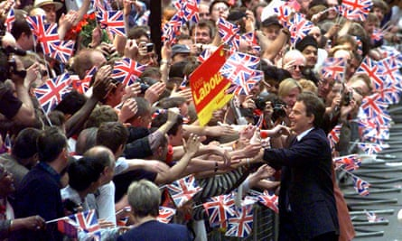 Tony Blair and crowds celebrate  Labour's 1997 victory