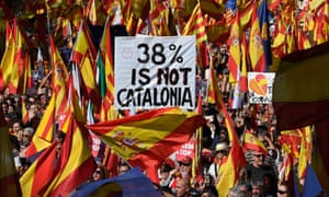 Pro-Spanish unity protesters in Barcelona.