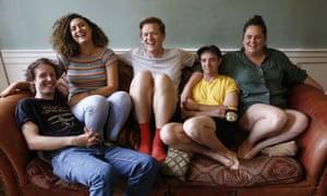 Guy Montgomery, Rose Matafeo, Chris Parker, Eli Matthewson and Alice Snedden at home.
