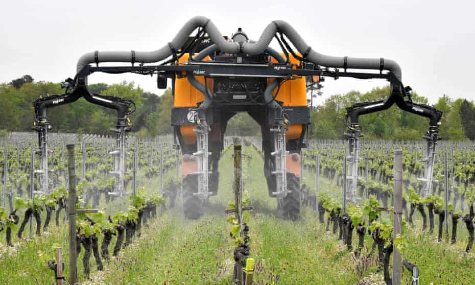 A vineyard fumigation tractor in the Bordeaux wine-growing region, France