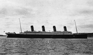 The passenger liner Titanic, seen off Ireland.