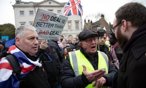 Vote Leave demonstrators argue with anti-Brexit demonstrators in Westminster on 15 January.