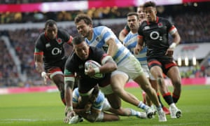 Nathan Hughes goes over for England's first try during the autumn international against Argentina at Twickenham