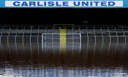 Carlisle United's football pitch after Storm Desmond in December 2015.