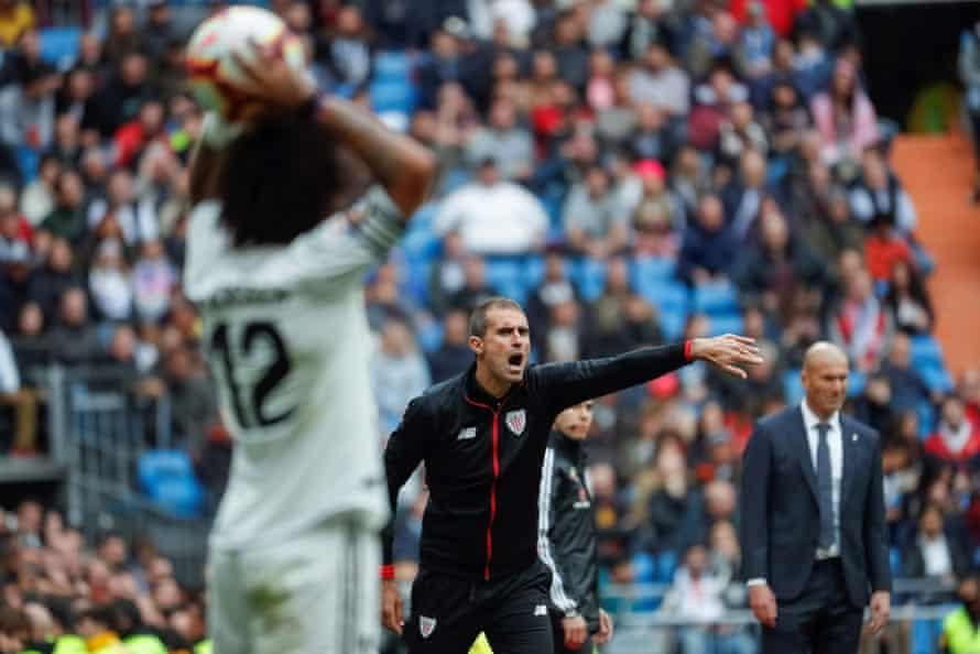 Gaizka Garitano reacts during the La Liga match between Real Madrid and Athletic Bilbao in April.