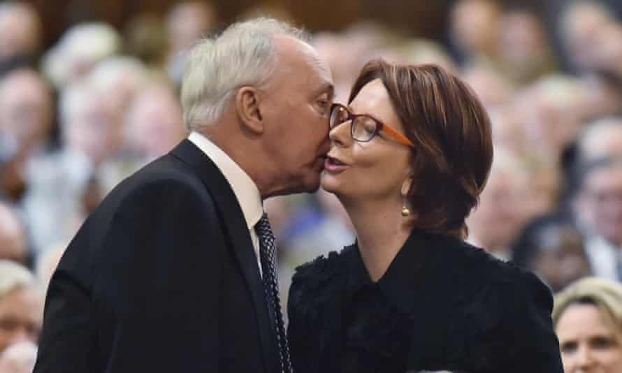 Paul Keating with Julia Gillard at the funeral of another former Australian prime minister, Malcolm Fraser. Gillard accuses conservative commentators of 'cynically' misrepresenting Keating and Bob Hawke's achievements.