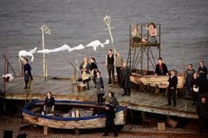 Benjamin Britten's Peter Grimes performed on Aldeburgh beach.