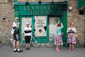 Cyclists outside Proctor's Fish Bar